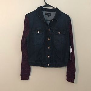 Tinseltown Denim Jacket Knit Sleeves Large In Jrs